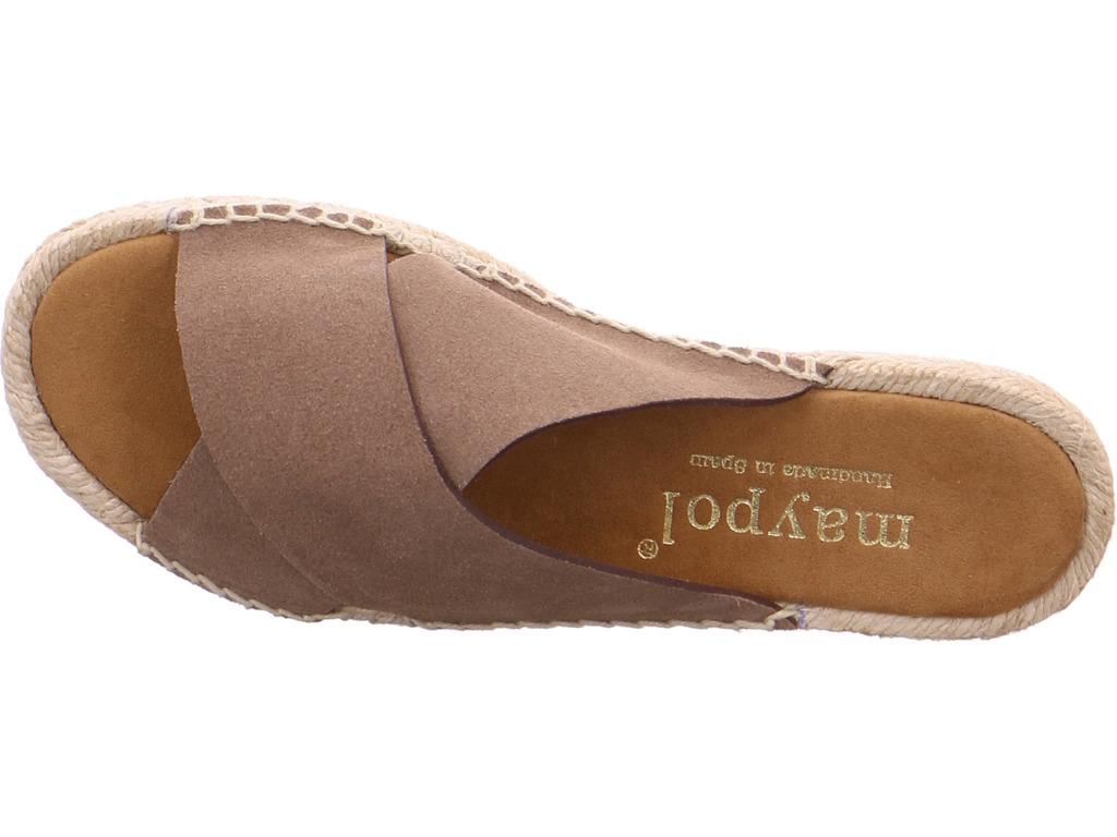 maypol Damen NV Pantolette Sandale Hausschuhe braun